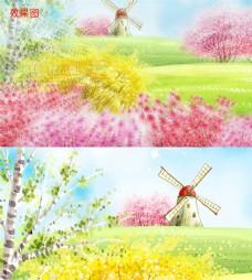 梦幻春暖花开插画视频