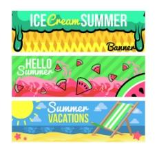 各种夏天元素装饰图案banner背景