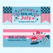 美国独立日国旗背景横幅
