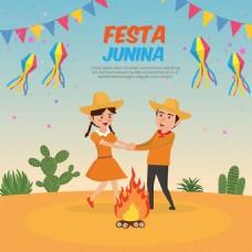 有趣的夫妇跳舞篝火节日背景