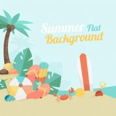 柔和彩色沙滩元素棕榈树背景