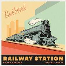 手绘复古风格火车背景
