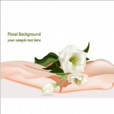 春季白色花卉海报