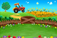 春季卡通田园风景插图