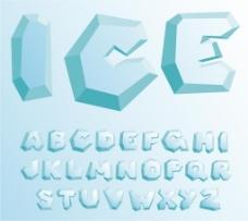冰块效果字母设计矢量素材下载
