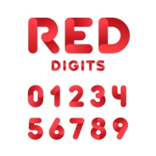 红色立体数字字体矢量素材下载