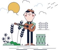 儿童卡通音乐插画
