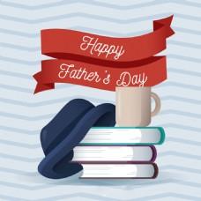帽子茶杯书籍父亲节锯齿线背景