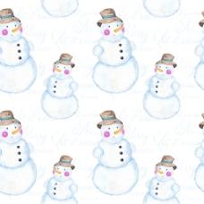 水彩画雪人背景图片