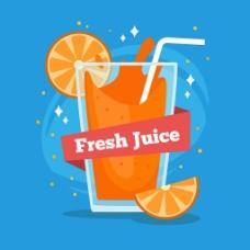玻璃杯装橙汁蓝色背景