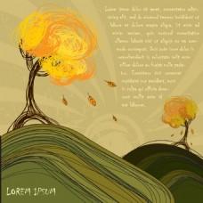 卡通矢量手绘树木山峰素材