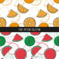 手绘橙色西瓜装饰图案集合
