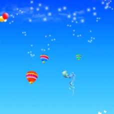 蓝色热气球背景