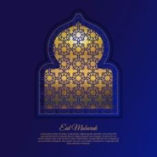 金色阿拉伯窗户背景设计