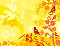 鸟儿花纹素材图案背景