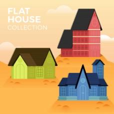 彩色房屋的平面设计背景素材