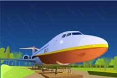 夜景校园飞机矢量图