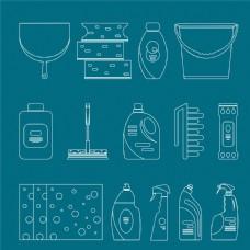 清洁用品线条图标图片1