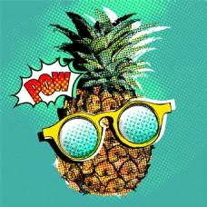 卡通菠萝半调图案图片