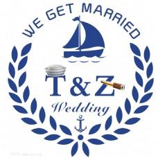 创意简约海洋系蓝色水手元素婚礼Logo