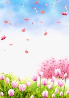 蓝色天空下的鲜花