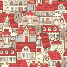 红色城市插图设计