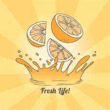 旭日背景橙汁图形插图