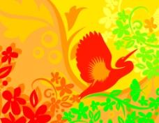 鸟类花卉素材背景