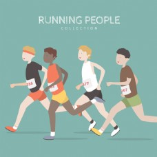多个跑步的人矢量素材