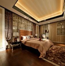 豪华卧室大床背景墙设计图