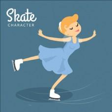 優美的卡通滑冰女孩