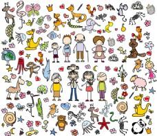 卡通动物与人手绘矢量图集合