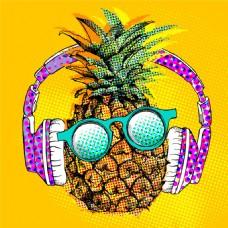 戴耳机眼镜的菠萝图片