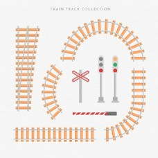手绘枕木火车轨道和信号灯集合