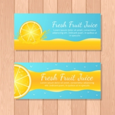 创意蓝色背景橙汁横幅广告模板