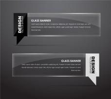 黑色水晶透明横幅背景图片