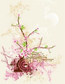 矢量桃花树背景
