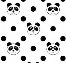 熊猫圆点无缝模式矢量插图