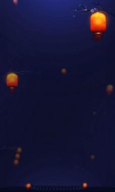 蓝色中国风节日商业海报背景设计
