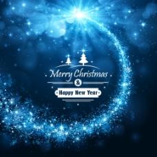 圣诞狂欢光效蓝色背景