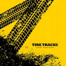 轮胎痕迹的黄色背景矢量素材