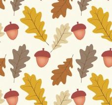 橡树叶和橡子花纹