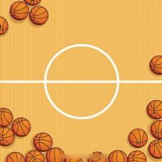 篮球场与篮球背景矢量素材
