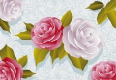 矢量立体玫瑰花背景