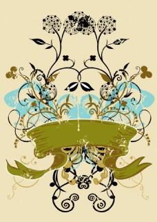 矢量对称植物花纹背景