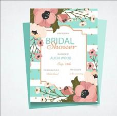 卡通手绘花卉婚礼邀请卡