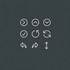 旋转小箭头扁平化的细线系统软件常用图标