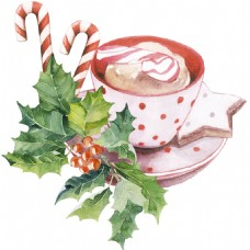 咖啡杯盘彩绘高清花草素材
