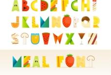 水果图案字母创意设计矢量素材