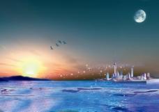 海上日出风景插画